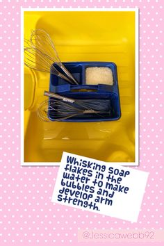 Whisking up soap flakes in the water tray- excellent for gross motor / pre writing skills! Eyfs Activities, Nursery Activities, Gross Motor Activities, Gross Motor Skills, Classroom Activities, Preschool Activities, Writing Area, Pre Writing, Writing Skills