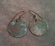Green Patina Brass Hoop Earrings with Brass Ear by YMBlueOriginals, $28.00