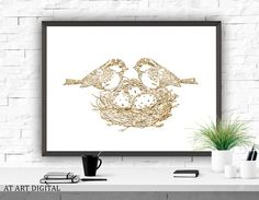 Birds In The Nest Art Print Printable Birds Art by ATArtDigital Gold Decorations, Dorm Art, Bird Poster, Office Prints, Gold Print, Frame It, Coffee Quotes, Hand Lettering, Nest