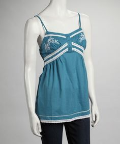 Take a look at this Teal Lace Embroidered Tank by Ruby Rose on #zulily today!