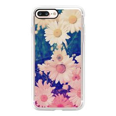 Cool Girly Cute Vintage Grunge Ombre Pink Turquoise Daisy Daisies... ($40) ❤ liked on Polyvore featuring accessories, tech accessories, iphone case, slim iphone case, vintage iphone case, iphone cases, iphone cover case and apple iphone case
