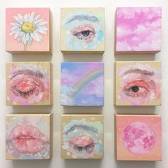 canvas art Small studies from last year # eyestudy Cute Canvas Paintings, Small Canvas Art, Mini Canvas Art, Mini Paintings, Pastel Paintings, Canvas Size, Aesthetic Painting, Aesthetic Art, Aesthetic Drawing