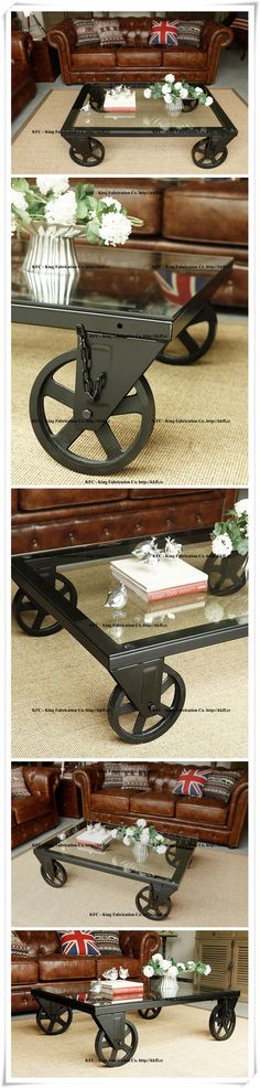 Industrial-style Cafe nostalgia old wrought-iron furniture Perugia wheel coffee table_Chairs & Tables_King Fabrication Co. - Iron and Wood Products wholesale.