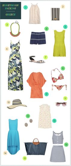 What to pack if you are honeymooning in Greece...or anywhere tropical!