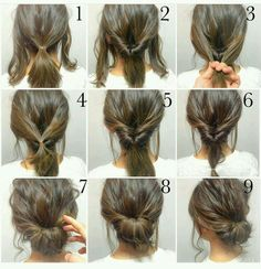 Easy, hope this works out quick morning hair!: Easy, hope this works out quick morning hair!:,Прически Easy, hope this works out quick morning hair! Peinado Updo, Hair Photo, Hair Hacks, Hair Lengths, Medium Hair Styles, Shorter Hair Styles, Hair Styles No Heat, Hair Donut Styles, New Hair
