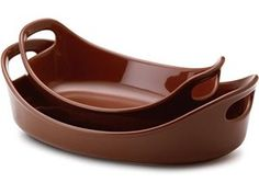 Rachael Ray Stoneware 2-pc. Bubble & Brown Baker Set: Chocolate (I also want in Orange & White)