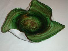 $80    Vintage Murano Green Seguso Glass Bowl Dish Ash Tray Mid Century Italy  #Seguso #Seguso