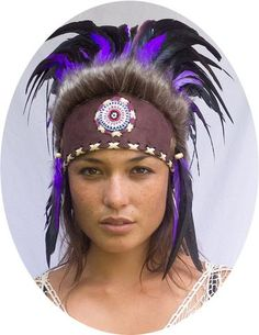 Mini Feather Headdress ADJUSTABLE Natural with beads Indian American Style