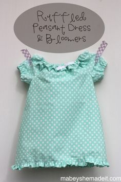 Ruffled #Peasant Dress & Bloomers   Mabey She Made It #babyclothes