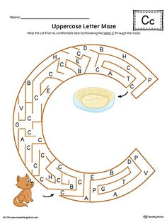 Uppercase Letter C Maze Worksheet (Color) Worksheet.If you are looking for creative ways to help your preschooler or kindergartener to practice identifying the letters of the alphabet, the Uppercase Letter Maze in Color is the perfect activity. Letter C Activities, Preschool Letter Crafts, Letter A Crafts, Maze Worksheet, English Worksheets For Kids, Alphabet Worksheets, Reading Worksheets, Letter Maze, Do A Dot