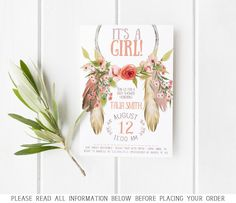 Celebrate the mommy-to-be and her little one with this adorable dreamcatcher baby shower invitation, that is sure to set the theme of any party!