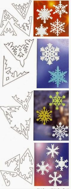 New Origami Christmas Tutorial Snowflake Template Ideas - Weihnachten Diy Christmas Fireplace, Diy Christmas Snowflakes, Snowflake Craft, Christmas Origami, Paper Snowflakes, Christmas Art, Christmas Projects, Holiday Crafts, Christmas Decorations