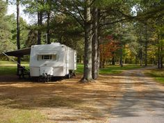 Fall camper at Meacham Lake Campground - NYSDEC Campgrounds