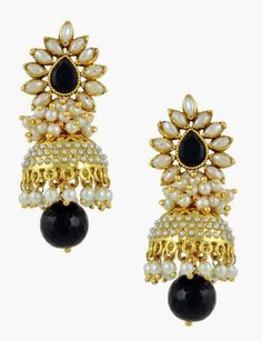 The Art Jewellery - Rajwadi Polki Black Jhumki Earrings