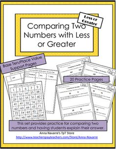 This Comparing Two Numbers packet is a resource for helping students to understand how base ten/place value helps them to recognize whether a number is greater or less than another number. It also provides practice for having students explain their thought process.