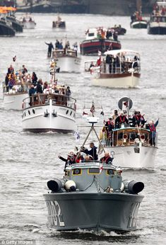 Bow to stern: Boats lined up to form a flotilla around 1,000 strong as the UK celebrates the Diamond Jubilee of a monarch for only the second time in history