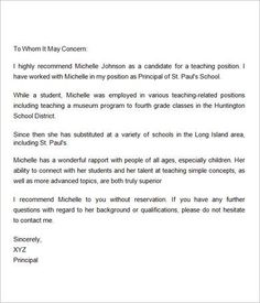 simple recommendation letter for student
