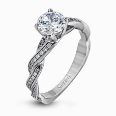 18K White Gold Twisted Diamond Band Engagement Ring - Fabled Collection