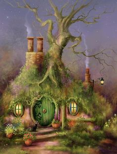 The Wizards Mark A cat passing through the garden on business of her own stopped several minutes and sniffed. Magic she thought, as she gazed upon the strange sign scratched into the Hobbit's beautiful green door! Hobbit Art, The Hobbit, Fantasy Paintings, Fantasy Artwork, Fantasy Landscape, Landscape Art, Cottage Art, Illustration Art, Illustrations
