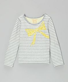 Another great find on #zulily! Heather Gray & White Stripe Bow Tee - Toddler & Girls #zulilyfinds