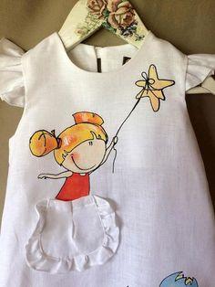 Dress Painting, T Shirt Painting, Fabric Painting, Saree Painting Designs, Fabric Paint Designs, Fabric Paint Shirt, Paint Shirts, Baby Girl Dress Patterns, Little Girl Dresses