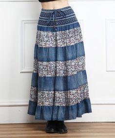 Look at this #zulilyfind! Blue Floral Shirred Denim Maxi Skirt by Miss Maxi #zulilyfinds