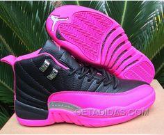 4cb2bac5256 2016 Air Jordan 12 GS Black Pink Shoes Super Deals XxDNKT
