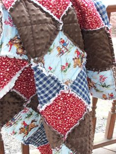 Twin Size Quilt, Country Western Quilt, Cowboy Cowgirl Horse Rag Quilt, Handmade…