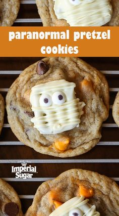 A spooky pretzel tops a soft and chewy chocolate chip cookie. This makes for a festive sweet and salty treat! Perfect for a Halloween party at school or to hand out to friends and family on Halloween.