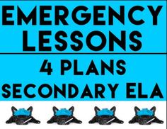 EMERGENCY SUB LESSON PLANS: Substitute English Teacher: Don't spend your sick day organizing lesson plans and student materials. Don't worry about who is delivering your lesson and how they will interpret complicated instructions.   This resource is designed for 5th - 12th grade English (ELA) teachers. 4 lessons include a variety of skills so you can choose one that best fits your current curriculum for last minute lesson plans or emergency sub lesson plans #emergencylessonplans