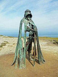 Arthur's statue atop Tintagel