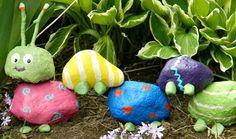 gartendeko ideen aus Steinen als spiel für kinder im freien