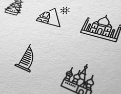 Ознакомьтесь с этим проектом @Behance: «Touristic icon design» https://www.behance.net/gallery/11228527/Touristic-icon-design