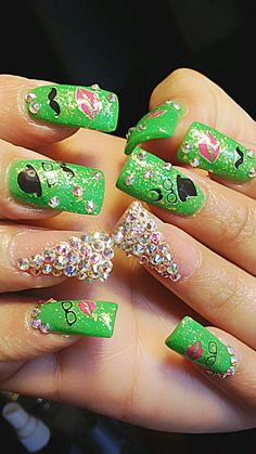 Mustache, Geeky, Nerdy & Green St Patrick Nails!
