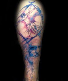 blue-and-red-vitruvian-man-male-tattoo-with-leonardo-da-vinci-portrait-design-on-arm.jpg (564×674)