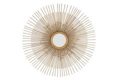 Round Metal Starburst Wall Mirror, Gold