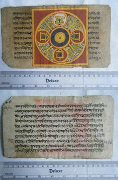 Rare Original Antique Old Manuscript Jain Cosmology New Hand Painting India#654