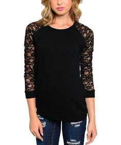 Love this Black Lace Long-Sleeve Top by The Wholesale Fashion Square on #zulily! #zulilyfinds