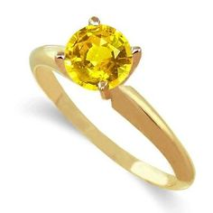 14k Gold Yellow Sapphire Ring 1 Carat Size 7