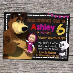 Masha And The Bear Birthday Party Invitation by DottyDigitalParty