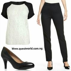 Dress  for a promotion! #top #trousers #shoes #questworldboutique www.questworld.com.ng Nationwide Delivery from 24hrs.