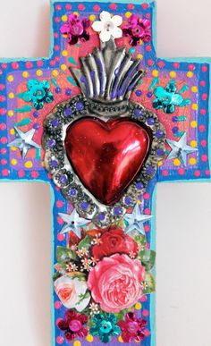 Sacred Heart Tin Ornament Ex Voto On Wooden Cross / Mexican Metal Sacred Heart…