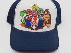 Nintendo Super Mario Family Blue Bioworld Youth Childrens Size Snapback Hat  #Bioworld #BaseballCap  #Nintendo Super Mario Family