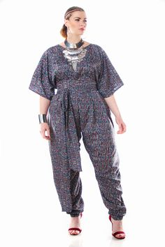 JIBRI Navy Tribal High Waist Slouch Pants w Attached Wrap Belt — JIBRI