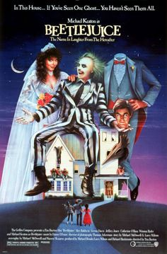 """BEETLEJUICE: Directed by Tim Burton.  With Alec Baldwin, Geena Davis, Michael Keaton, Annie McEnroe. A couple of recently deceased ghosts contract the services of a """"bio-exorcist"""" in order to remove the obnoxious new owners of their house."""