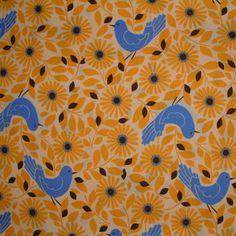 Kokka Birds & Flowers Yellow 1/2 METRE