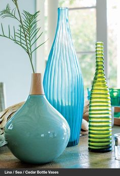 wow - this image was made for me!  Lina/Sea/Cedar Bottle Vases