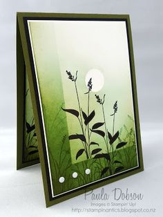 handmade card from Stampinantics ... grasses in silhouette ... sponging in tow greens ... artsy look ...