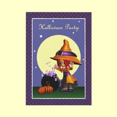 Adorable Magical Bubbles Witch Halloween Party Invitation by XG Designs NYC. $1.95 per invite, less if order in multiples. #witch #halloweenparty #invitation