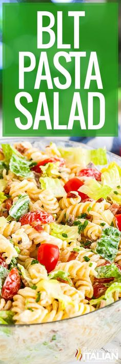 BLT Pasta Salad is bursting with flavor and so easy and quick to throw together. This simple but so delicious twist on your favorite sandwich is always a hit at potlucks and parties! Blt Pasta Salads, Blt Salad, Easy Pasta Salad, Pasta Salad Recipes, Healthy Salad Recipes, Real Food Recipes, Cooking Recipes, Salad Bar, The Slow Roasted Italian